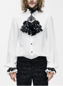 Black Embroidered Bow Tie Chest Frilly Lace Cuff White Gothic Chiffon Shirt