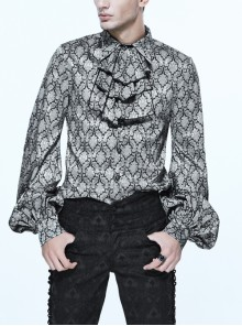Silver Jacquard Black Pattern Frilly Collar Long Sleeves Gothic Shirt