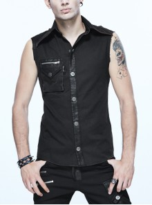 Black Twill One-Shoulder Armor Heat Seal Hasp Punk Sleeveless Shirt