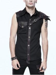 Black Twill Brown One-Shoulder Armor Heat Seal Hasp Punk Sleeveless Shirt