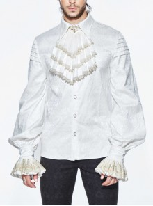 Gold Embroidered Bow Tie Jacquard Upper Arm Pleated Lace Cuff White Gothic Shirt