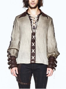 Vintage Lace-Up Collar Leather Hasp Cuff Cream-White Punk Shirt