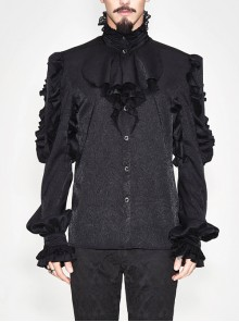Black Jacquard High Collar Flounces Long Sleeves Lace Cuff Gothic Shirt