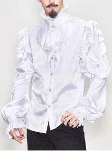 White Jacquard High Collar Flounces Long Sleeves Lace Cuff Gothic Shirt