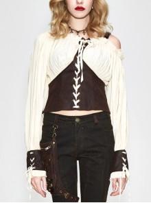 Vintage asymmetrical halter neck off-shoulder lace-up cuff creamy white vintage punk blouse
