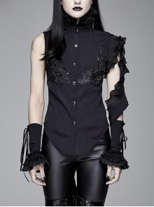 Black Asymmetric Twining Lace Sleeves Swallowtail Hem Gothic Shirt