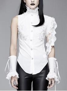 White Asymmetric Twining Lace Sleeves Swallowtail Hem Gothic Shirt