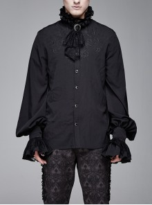 High Collar Chest Symmetrical Embroidered Necktie Long-Sleeve Black Gothic Shirt