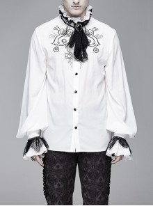 High Collar Chest Symmetrical Embroidered Necktie Long-Sleeve White Gothic Shirt