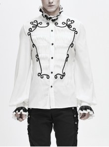 Lace High Collar Hand-Embroidered Long Sleeve White Gothic Shirt
