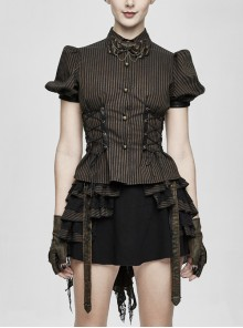 Brown Striped Short Bubble Sleeve Back Lace-Up Punk Blouse