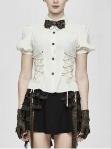 White Cotton Linen Short Bubble Sleeve Back Lace-Up Punk Blouse