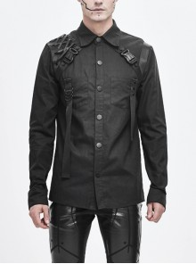 Asymmetrical Shoulder Lace-Up Thick Ribbon Chest Metal Nail Buckle Black Punk Shirt