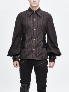 Brown Striped Side Lace-Up Fake Belt Leather Hasp Cuff Punk Shirt