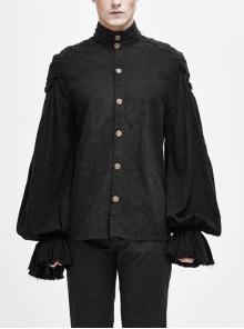 Dark Grain Jacquard Shoulder Braid Attached Puff Sleeve Rough Selvedge Black Punk Shirts