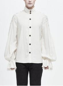 Grain Jacquard Shoulder Braid Attached Puff Sleeve Rough Selvedge White Punk Shirts