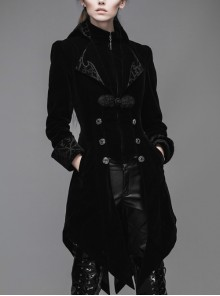 Gothic Embroidered  Collar Black Fake Two Pieces Velveteen Dovetail Lady Coat