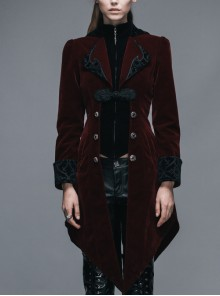 Gothic Embroidered Black Collar Fake Two Pieces Red Velveteen Dovetail Lady Coat