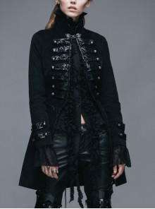 Black Gothic Patterned Hook Clasp Flocking Patterned Leather Loops Stand Collar Poncho Women Velveteen Coat