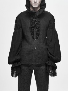 High Collar Pleated Chiffon Chest Frilly Beading Long Sleeve Lace Cuff Black Gothic Shirt