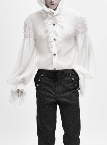 High Collar Pleated Chiffon Chest Frilly Beading Long Sleeve Lace Cuff White Gothic Shirt