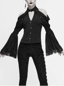 Off-Shoulder V-Neck Top Collar Pendant Big Cuffs Stitching Lace Mesh Black Gothic Blouse