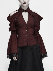 Off-Shoulder V-Neck Top Collar Pendant Big Cuffs Stitching Lace Mesh Red Gothic Blouse