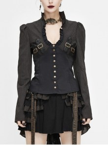 Striped Spliced Shirt Material Low Collar Button Hasp Black Punk Blouse