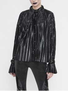 Black Bright Pleated Pointed Collar Leather Loops Metal Buckles Cuff Punk Blouse