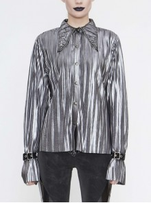 Silver Bright Pleated Pointed Collar Leather Loops Metal Buckles Cuff Punk Shirt