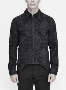 Black Palace Pattern Printing Zipper Sharp Corner Hem Fold-Over Cuff Gothic Shirt