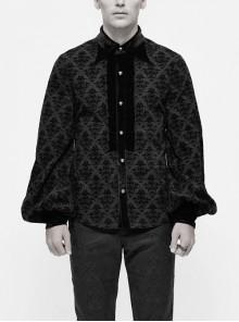 Flocking Floral Pattern Sharp Collar Chest Velvet Fold Metal Button Black Gothic Shirt