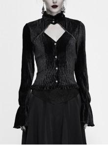 V-Neck Chest Hollow Back Lace-Up Dovetail Hem Black Gothic Crimped Velvet Blouse