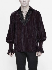 Chest Lace Lace-Up Flower Spikes Lantern Long Sleeve Pleated Velvet Black Red Gothic Shirt