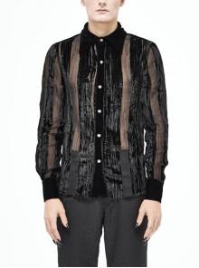 Mushroom Metal Buckles Long Sleeve Irregular Striped Velvet Fold Black Gothic Shirt