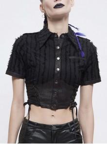 Vertical Stripes Rough Selvedge Shoulder Loops Waist Seal Side Lace-Up Short Black Punk Blouse