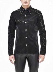 Black Collar Chain Arm Chain Long Sleeve Punk Shirt