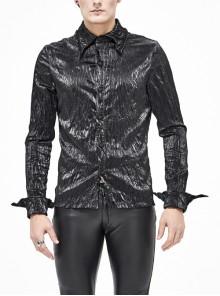 Black Light Metal Ring Webbing Collar Sharp Corner Cuff Twill Fold Punk Shirt
