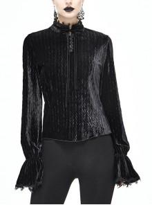 Pleated Velvet High Collar Small Lantern Sleeve Lace Cuff Black Gothic Blouse