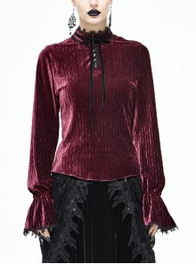 Pleated Velvet High Collar Small Lantern Sleeve Lace Cuff Wine Red Gothic Blouse