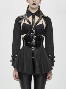 Chest Hollow-Out Glazed Leather Corset Long Sleeve Hasp Cuff Black Punk Blouse