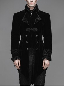 Gothic Carved Button Embroidered Collar Black Velveteen Dovetail Men Coat