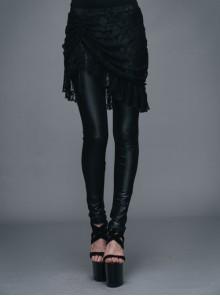 Fringe Gathering Small Rose Mesh Lace Front Side Lace-Up Black Gothic Skirt