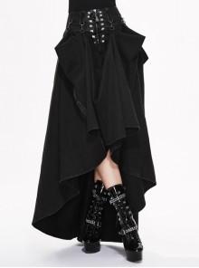 Waist D-Buckle Lace-Up Zipper Rear Long Hem Black Punk Long Half Skirt