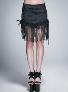 Lace Tassel Hem Back Waist Lace-Up Black Jacquard Gothic Short Skirt