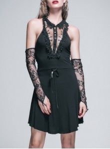 Lace Collar Off-Shoulder Rose Button Back Lace-Up Black Gothic Knitted Dress