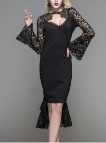 Chest Hollow Lace Long Sleeves Medium-Length Black Gothic Fishtail Dress