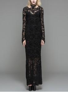 Black Flocking Rose Mesh Lace Long Sleeve Fishtail Backless Gothic Long Dress