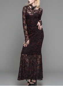 Black Red Flocking Rose Mesh Lace Long Sleeve Fishtail Backless Gothic Long Dress