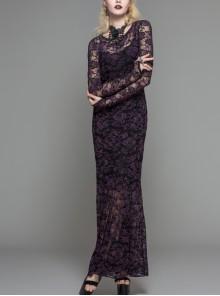 Black Purple Flocking Rose Mesh Lace Long Sleeve Fishtail Backless Gothic Long Dress